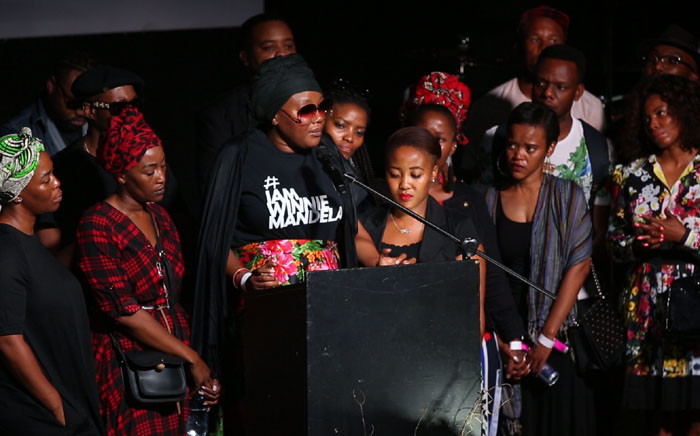"Lerato Sengadi addresses Jabulani ""HHP"" Tsambo's family and fans at the rapper's memorial service at Newtown Music Factory, Johannesburg. Picture: Abigail Javier/EWN."