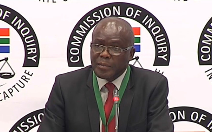 A YouTube screengrab shows Peter Thabethe, the former head of the Free State Agriculture Department, at the state capture inquiry on 4 October 2019.