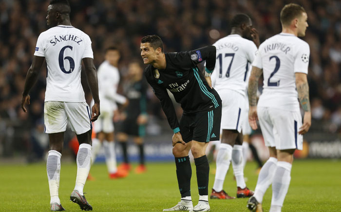 Real Madrid's Cristiano Ronaldo reacts after missing a shot on goal during the UEFA Champions League Group H football match between Tottenham Hotspur and Real Madrid at Wembley Stadium in London, on November 1, 2017. Picture: AFP