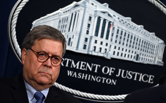FILE: US Attorney General William Barr holds a press conference regarding the December 2019 shooting at the Pensacola Naval air station in Florida at the Department of Justice in Washington, DC. Picture: AFP