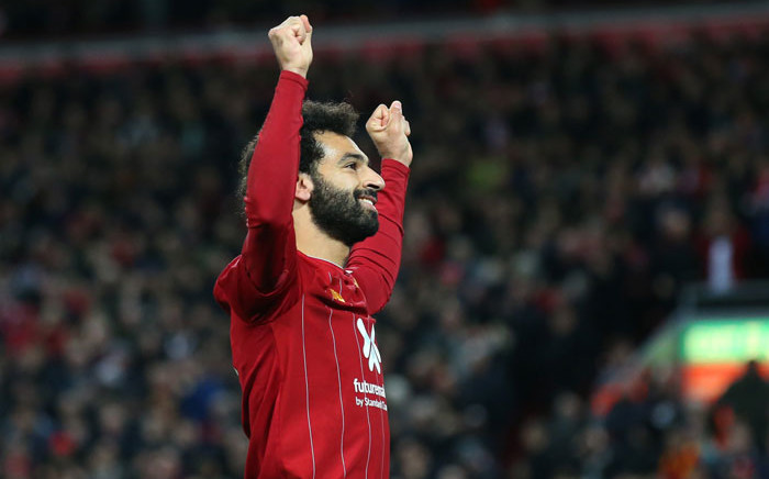 Liverpool forward Mo Salah celebrates his goal against Tottenham during their English Premier League match at Anfield on 27 October 2019. Picture: @LFC/Twitter