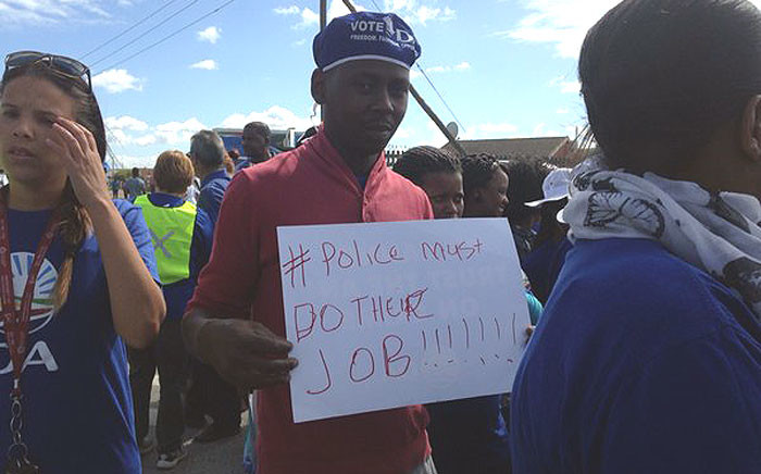 Philippi residents marched against high crime levels in their area on 21 March 2016. Picture: Shamiela Fisher/EWN.