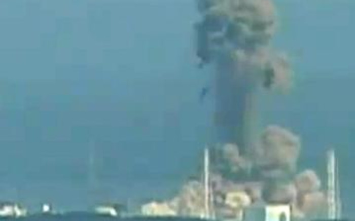 A screen grab shows the moment of a hydrogen explosion at the Fukushima No. 1 nuclear power station on March 14, 2011. Picture: JAPAN OUT AFP PHOTO / HO / NHK