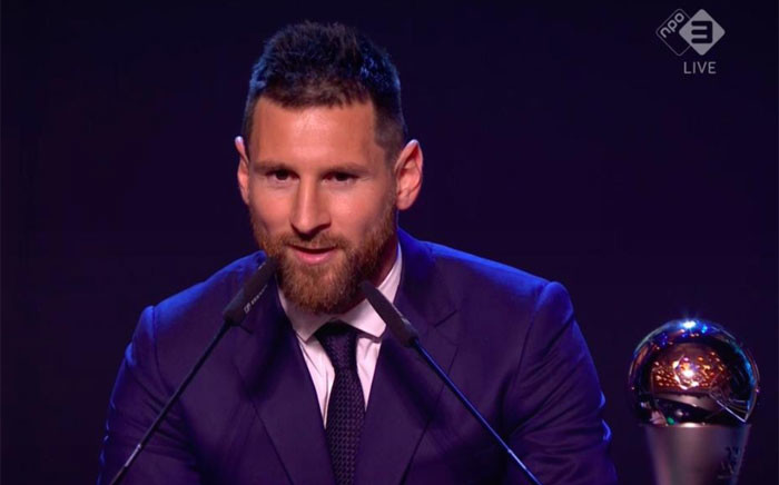 A creengrab of Argentine Lionel Messi who won the FIFA player of the year award.