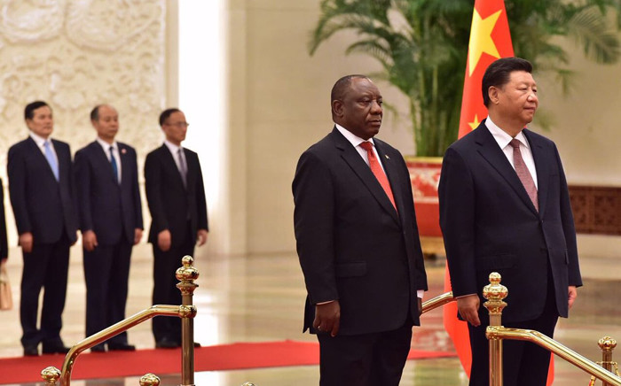 President Cyril Ramaphosa (left) and his Chinese counterpart Xi Jinping in Beijing, China. Picture: @PresidencyZA/Twitter