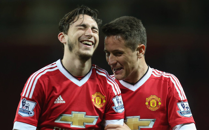Ander Herrera congratulates Matteo Darmian after he scored his first goal for Manchester United against Crystal Palace on 20 April 2016 in the English Premier League. Picture: Manchester United official Facebook page.