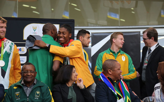 HIGH FLYERS: High jump silver medalist Luvo Mayonga and 800m champion Caster Semenya. Picture: Christa Eybers/EWN.