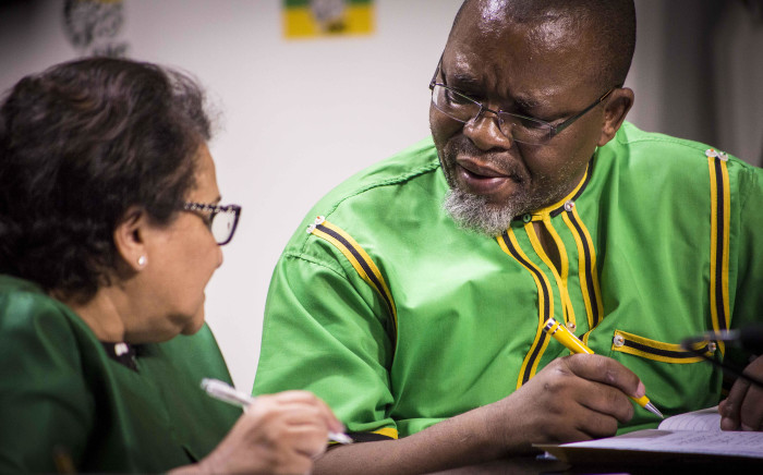 FILE: ANC secretary general Gwede Mantashe addresses his deputy Jessie Duarte at Luthuli House during a press briefing on 29 November 2016 regarding the outcome of the party's national executive committee meeting. Picture: Thomas Holder/EWN.