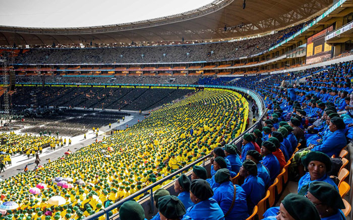 Worshippers gather at FNB Stadium for the Motsepe Foundation National Day of Prayer. Picture: Twitter @MotsepeFoundtn.