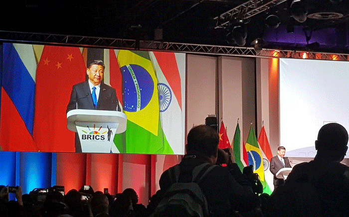 Chinese President Xi Jinping addresses delegates at the 10th BRICS Summit. Picture: @BRICS_10/Twitter