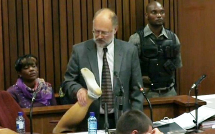 Forensic expert Roger Dixon at the Oscar Pistorius murder trial on 17 April 2014. Picture: Pool.