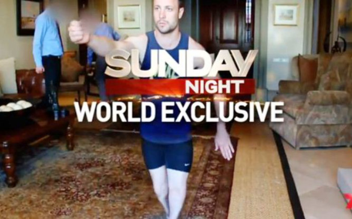 A screenshot shows a snippet from Australia's Channel 7's documentary on Oscar Pistorius re-enacting the night he killed Reeva Steenkamp.