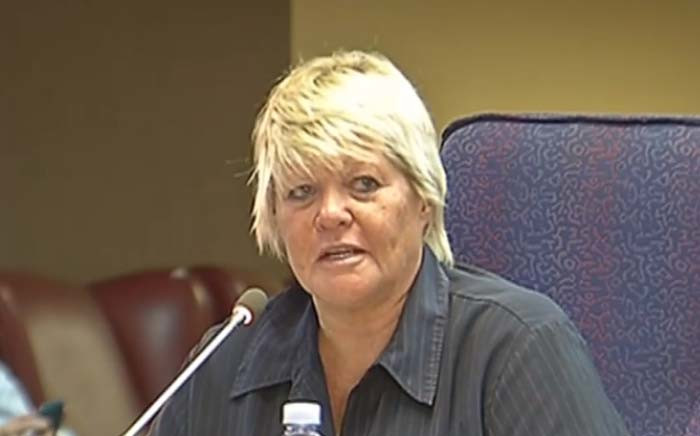 A screengrab of former prosecutor Glynnis Breytenbach testifying at the Mokgoro inquiry. Picture: YouTube.