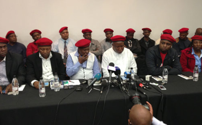 Expelled ANC Youth League leader Julius Malema announcing the official formation of the Economic Freedom Fighters (EFF), in Constitutional Hill in Johannesburg on11 July 2013. Picture:Sebabatso Mosamo/EWN