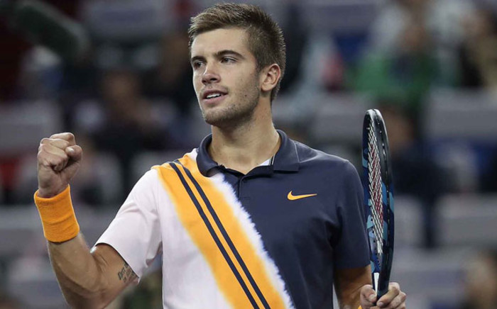 Croatia's Borna Coric celebrates his victory over Roger Federer at the Shanghai Masters on 13 October 2018. Picture: @ATPWorldTour/Twitter