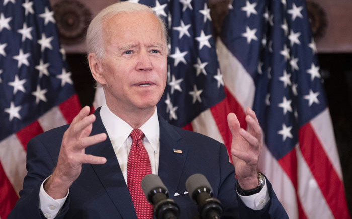 US Democratic presidential candidate and former Vice President Joe Biden speaks about the unrest across the country from Philadelphia City Hall on 2 June 2020 in Philadelphia, Pennsylvania. Picture: AFP