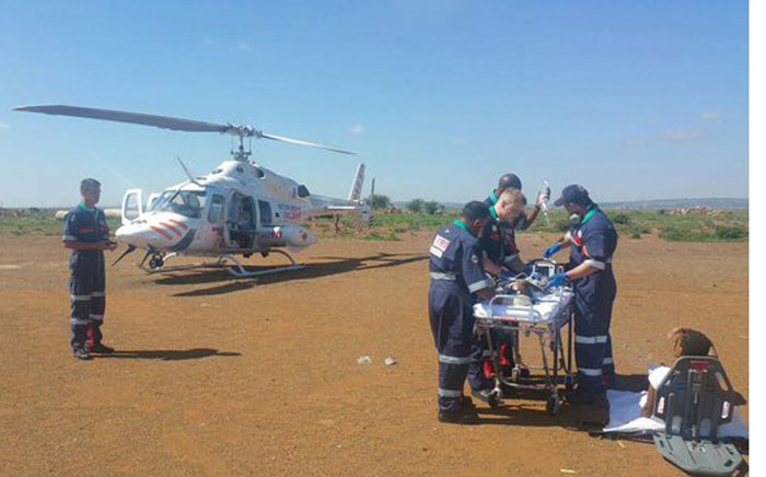 Netcare911 airlifts 10 month old baby from Bekkersdal to a Johannesburg hospital after suffering second -egree burns. Picture: @Netcare911_sa