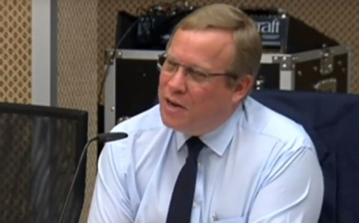 A screengrab of acting Sars Commissioner Mark Kingon appearing at the Nugent commission of inquiry on 19 October 2018.