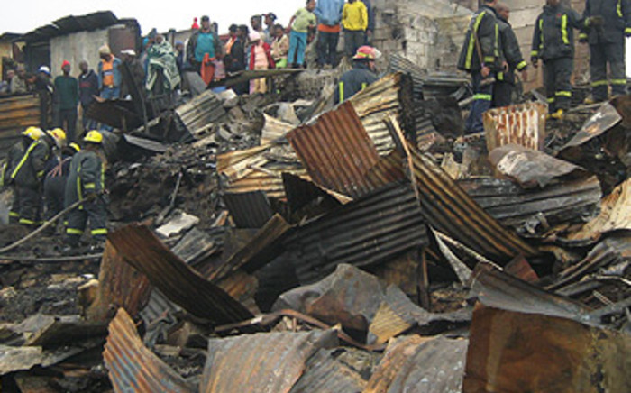 Shacks devastated by fire. Picture: EWN.
