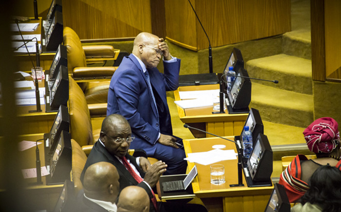 President Jacob Zuma listens to opposition MPs during the State of the Nation address debate. Picture: Thomas Holder/EWN