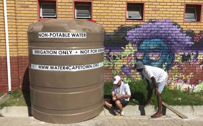 Water4CapeTown donated a 5,000-litre JOJO tank to the Ikhaya Garden in Site C, Khayelitsha. Picture: @Water4CPT/Twitter.