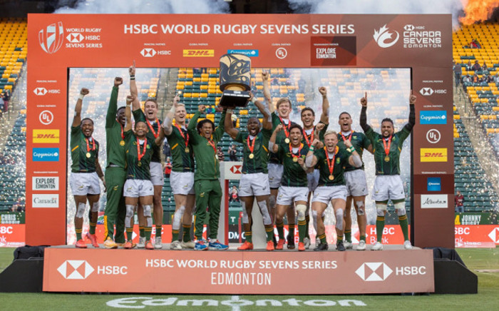 The Springbok Sevens squad won a fourth HSBC World Rugby Sevens Series on 26 September 2021 when they completed the North American double by winning the Edmonton tournament, the second of two HSBC Canada Sevens tournaments played. Picture: .springboks.rugby/