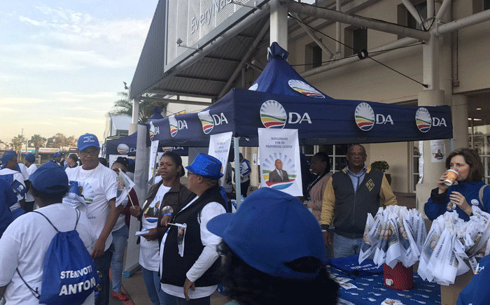 DA members register during an elective conference in Cape Town on 7 October 2017. Picture: Shamiela Fisher/EWN.