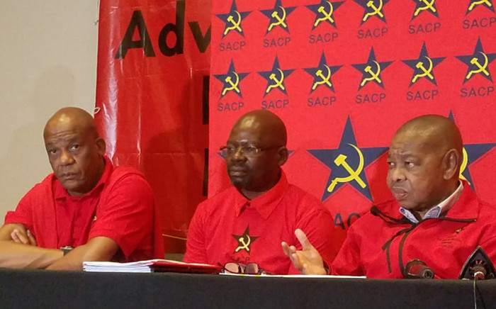 FILE: SACP general-secretary Blade Nzimande (left), SACP first deputy general-secretary Solly Mapaila (centre) and second general-secretary Chris Matlhako (right). Picture: Twitter/ @SACP1921.