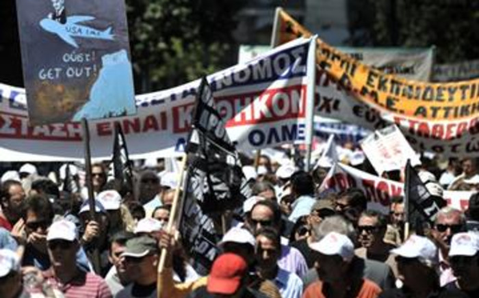 Greek protesters in Athens. Picture:AFP.