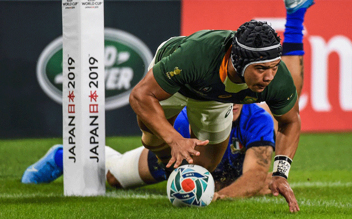 FILE: Springboks winger Cheslin Kolbe scores a try during a Rugby World Cup 2019 match. Picture: @Springboks/Twitter