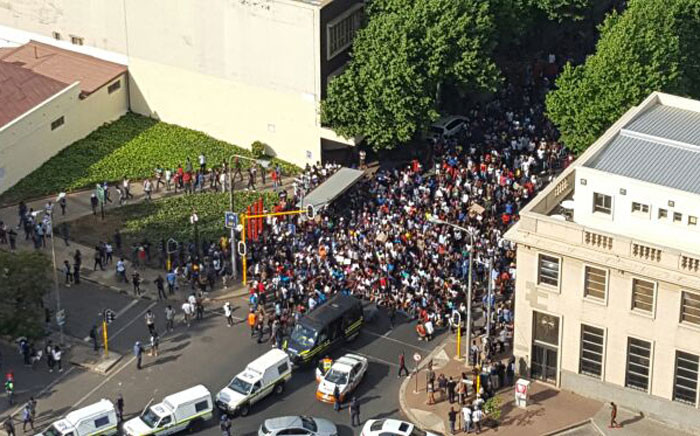 Outside Wits University on 23 September 2016 where students were protesting against an increase in fees for 2017. Picture: Twitter @naztyboy.