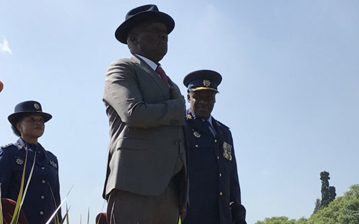 Police Minister Bheki Cele is officially welcomed by the SAPS during a parade in Pretoria on 9 March 2018. Picture: Barry Bateman/EWN