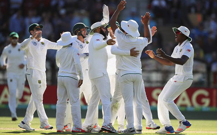 Proteas players celebrate the fall of a wicket. Picture: @OfficialCSA.