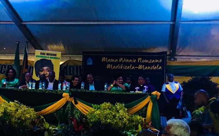 Former president Jacob Zuma sitting between Edna Molewa and Jesse Duarte at Winnie Madikizela-Mandela's memorial in KwaZulu-Natal. Picture: Ziyanda Ngcobo/EWN