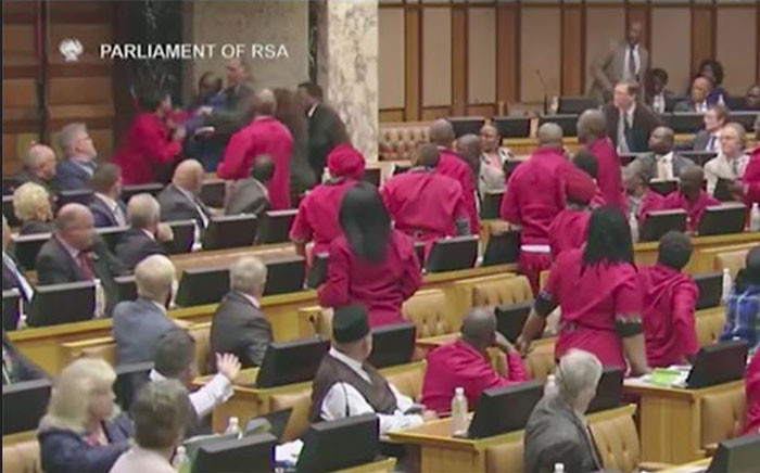 A video screengrab of the chaos in Parliament on 6 November 2018. Picture: YouTube