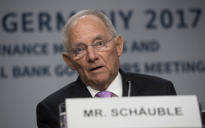 German Finance Minister Wolfgang Schäuble speaks during a G20 press conference. Picture: AFP.