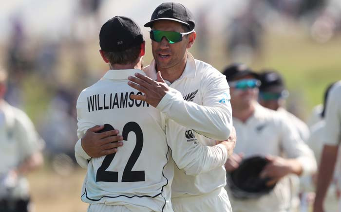 FILE: New Zealand's Kane Williamson (L) and Ross Taylor celebrate their win during the fifth day of the first cricket test between England and New Zealand at Bay Oval in Mount Maunganui on 25 November 2019. Picture: AFP.