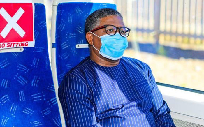 Transport Minister Fikile Mbalula inspects the Gautrain for compliance with Level 4 coronavirus lockdown regulations on 4 Mat 2020. Picture: @MbalulaFikile/Twitter