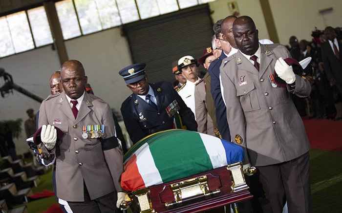 FILE: The casket of Dr Edna Molewa being carried by members of the South African National Defence Force during her funeral service on 6 October 2018. Picture: Kayleen Morgan/EWN