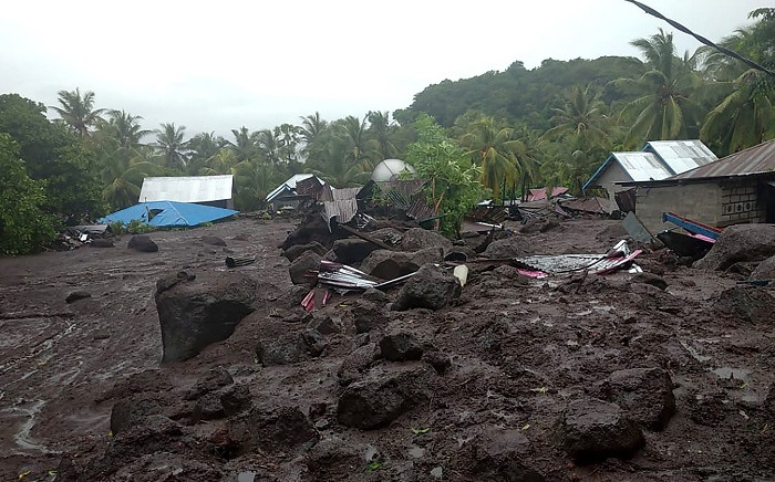 This handout photo taken on 4 April 2021 and released by the Indonesian National Board for Disaster Management (BNPB) shows the aftermath of a flash flood in the village of Lamanele on East Flores, where at least 23 people were killed and two missing after early morning flash floods. Picture: AFP.