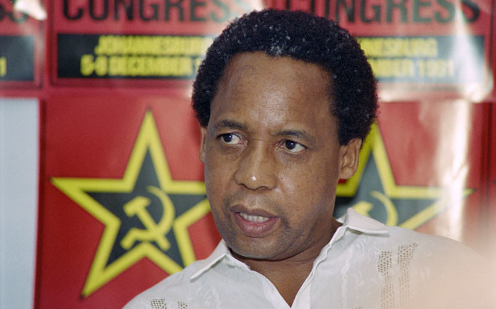 This file photo taken on 07 December 1991 shows newly elected secretary general of South African Communist Party (SACP) Chris Hani speaking at a press conference. Picture; AFP.