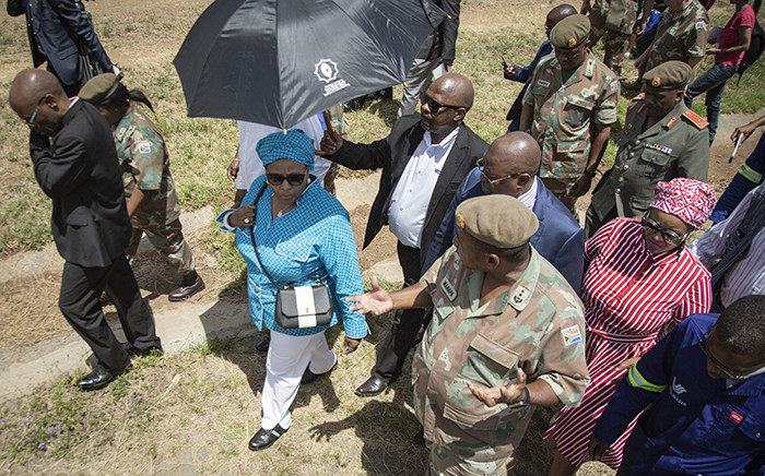 Minister of Defence and Military VeteransNosiviwe Mapisa-Nqakula visits the Vaal River System rehabilitation project currently underway on 24 November 2018. Picture: Sethembiso Zulu/EWN.