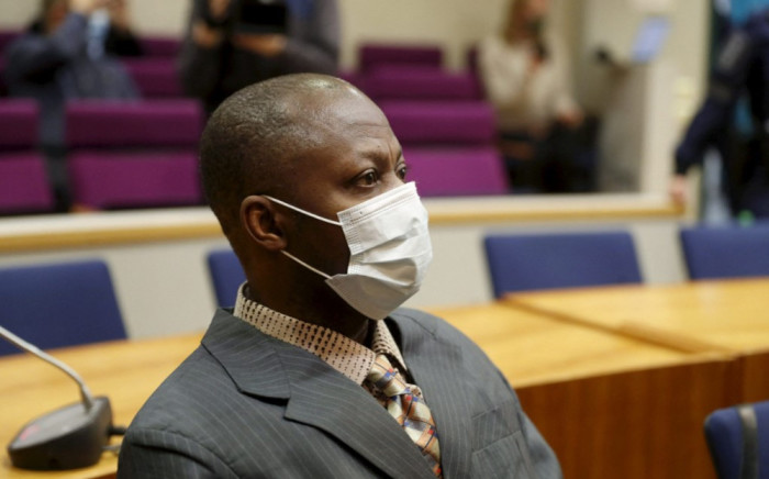 Sierra Leonean national Gibril Massaquoi at the first day of his trial at the Pirkanmaa District Court in Tampere, Finland, on 3 February 2021. Picture: Kalle Parkkinen / AFP
