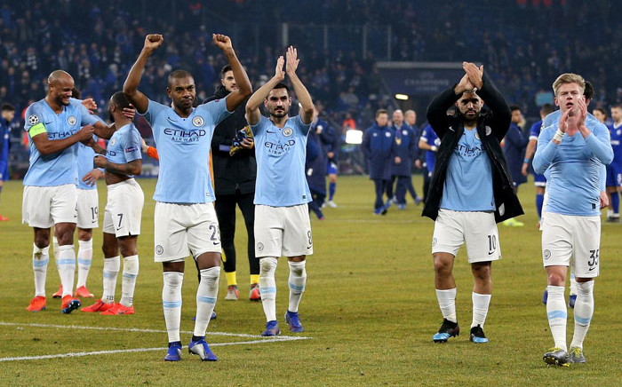 Manchester City players after their victory against Schalke in their Champions League match in Gelsenkirchen on 20 February 2019. Picture: @ManCity/Twitter