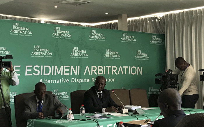 FILE: Retired deputy Chief Justice Dikgang Moseneke presiding over the arbitration process into the Esidimeni tragedy. Picture: Masego Rahlaga/EWN