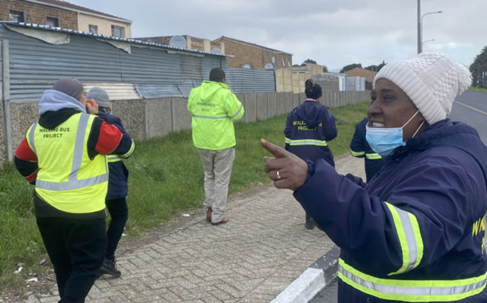 Some members of a walking bus in Mitchells Plain patrol the streets to report any issues to the SAPS. Picture: @ricardomackenzi/Twitter