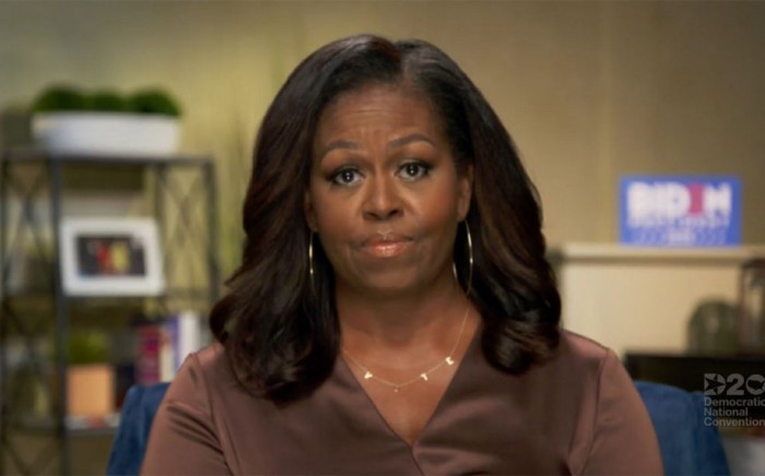 This image grab made on 17 August 2020 from the online broadcast of the Democratic National Convention, being held virtually amid the novel coronavirus pandemic, shows former First Lady Michelle Obama speaking during the opening night of the convention. Picture: AFP