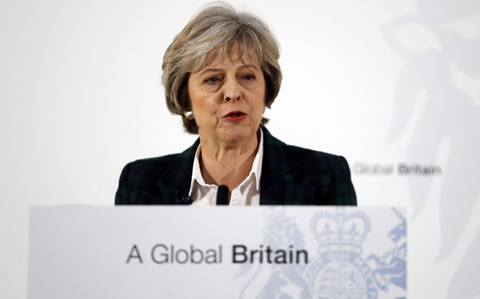 FILE: British Prime Minister Theresa May delivers a speech on the government's plans for Brexit on 17 January 2017. Picture: AFP