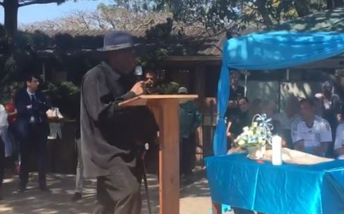 A video screengrab of Bheki Cele speaking at the Rippon Primary School in Sydenham.