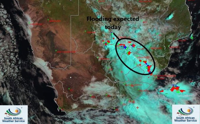"The weather service issued a warning for heavy downpours and ""localised flooding"" in parts of Gauteng, Free State, North West, and KwaZulu-Natal on Saturday, 8 February 2020. Picture: Twitter/SA Weather Service"
